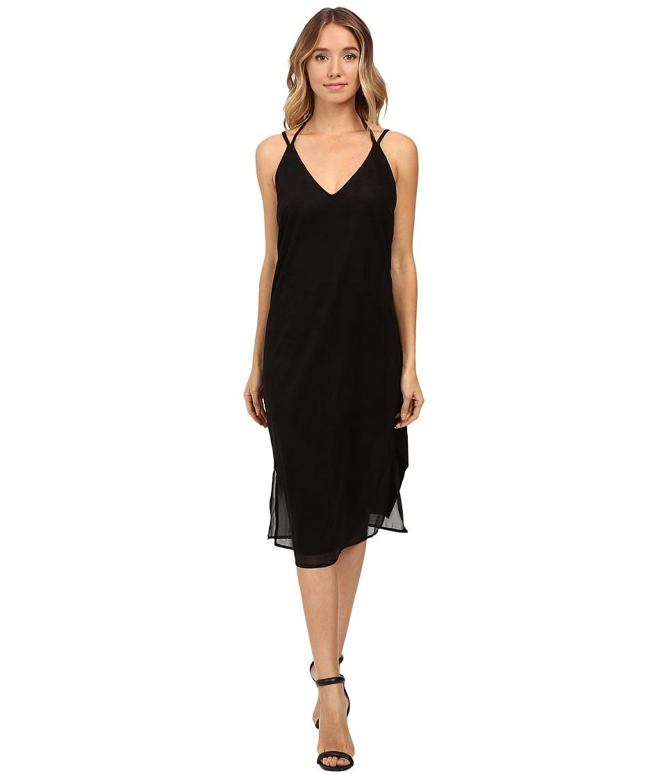 Brigitte Bailey - Hadley Spaghetti Strap Micro Suede Dress (Black) Women's Dress