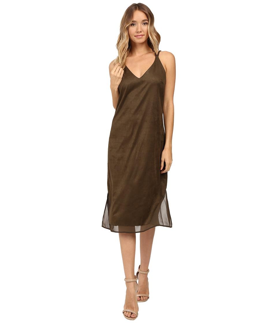 Brigitte Bailey - Hadley Spaghetti Strap Micro Suede Dress (Olive) Women's Dress