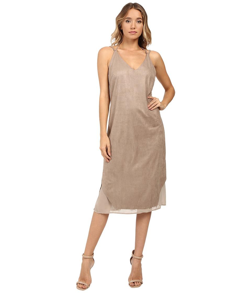 Brigitte Bailey - Hadley Spaghetti Strap Micro Suede Dress (Taupe) Women's Dress