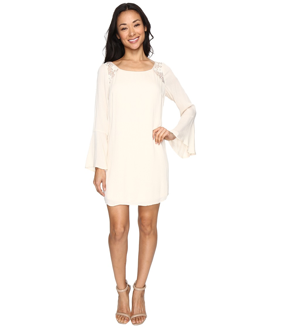 Brigitte Bailey - Rowan Long Sleeve Dress with Lace Detail (Cream) Women's Dress