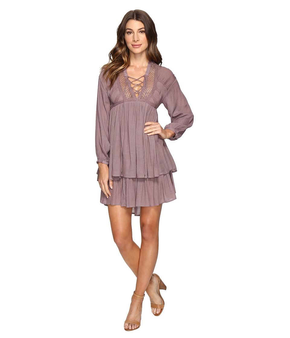 Brigitte Bailey - Halima Long Sleeve Tie-Front Dress (Mauve) Women's Dress