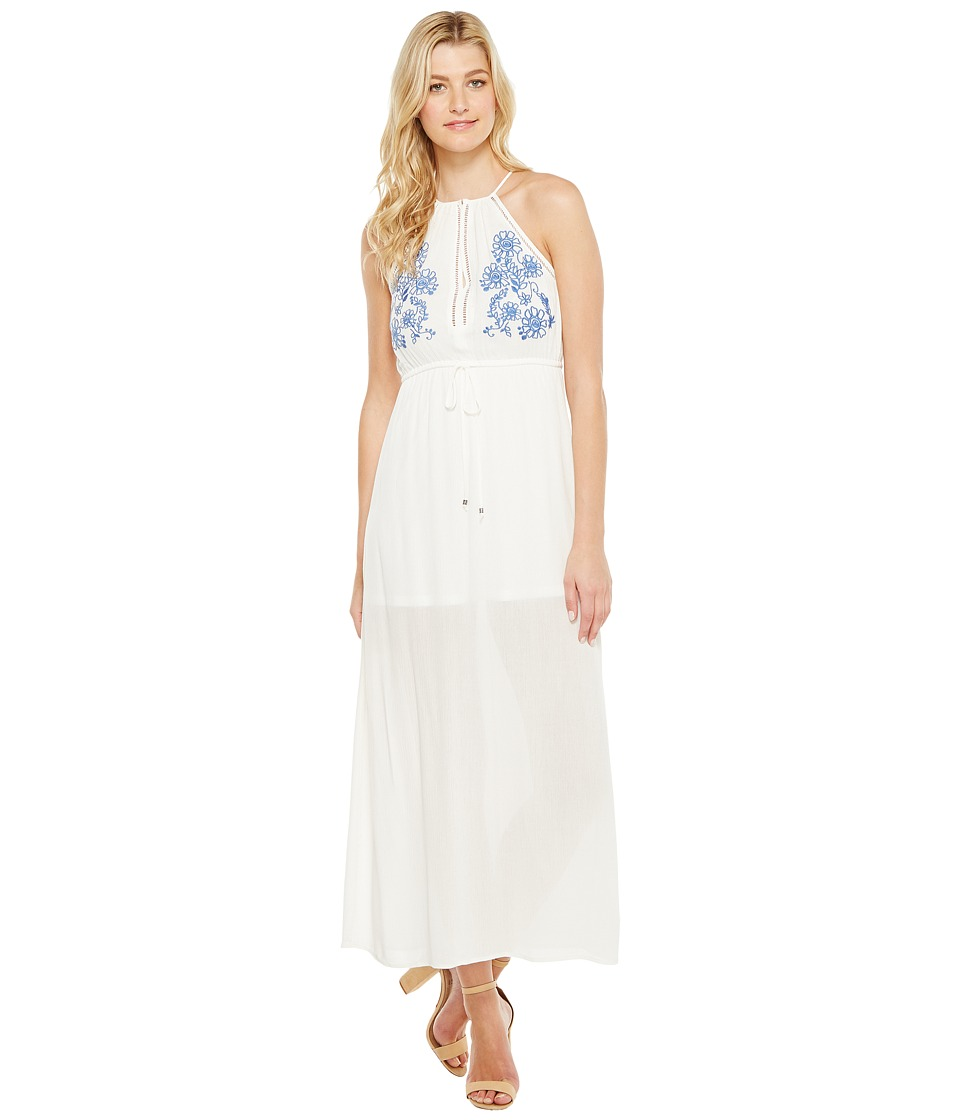 Brigitte Bailey - Samara Halter Maxi Dress with Embroidery (Off-White) Women's Dress