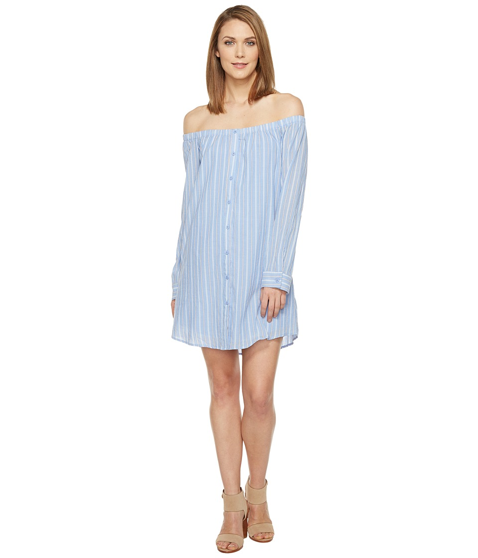 Brigitte Bailey - Adelina Off the Shoulder Dress with Buttons (Light Blue) Women's Dress