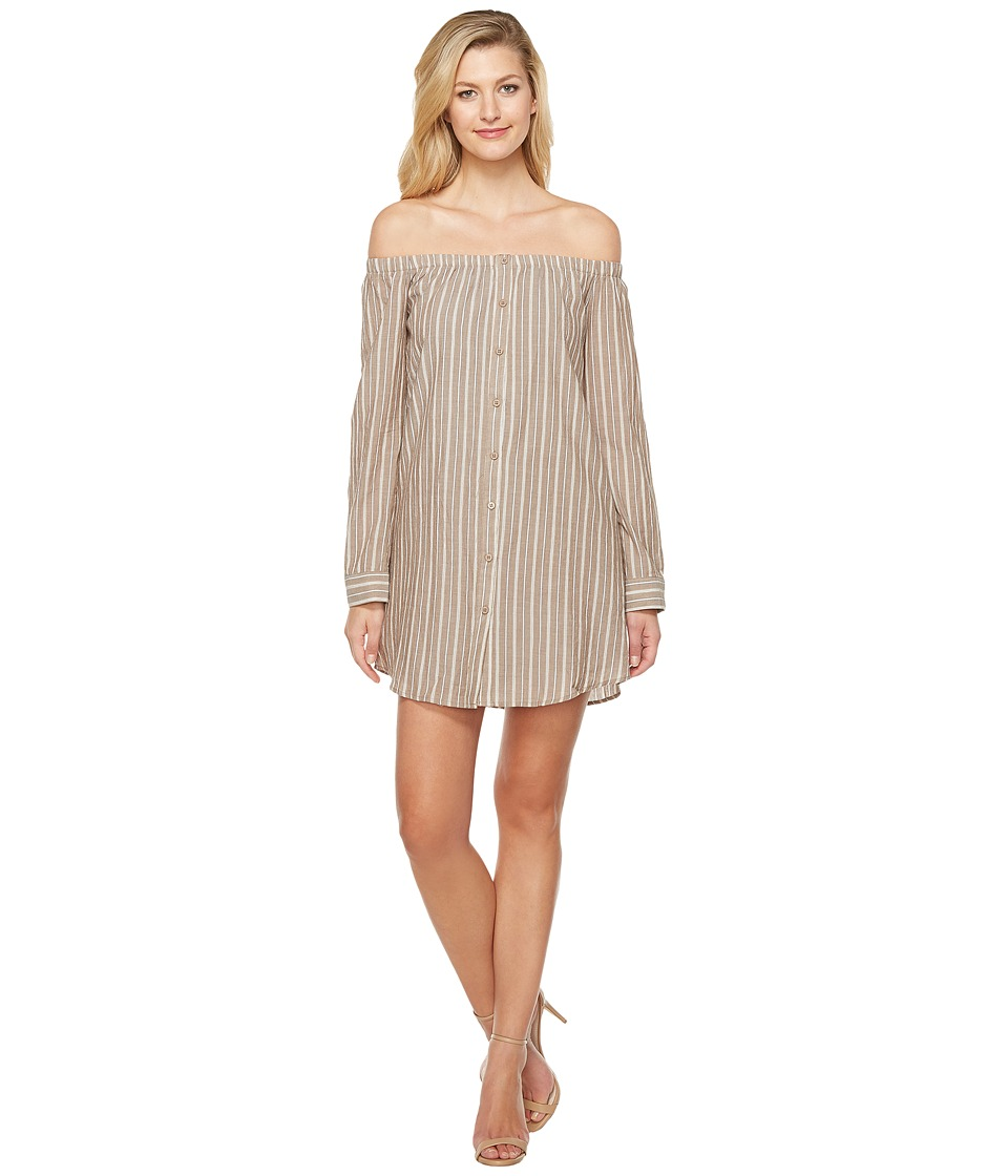 Brigitte Bailey - Adelina Off the Shoulder Dress with Buttons (Taupe) Women's Dress