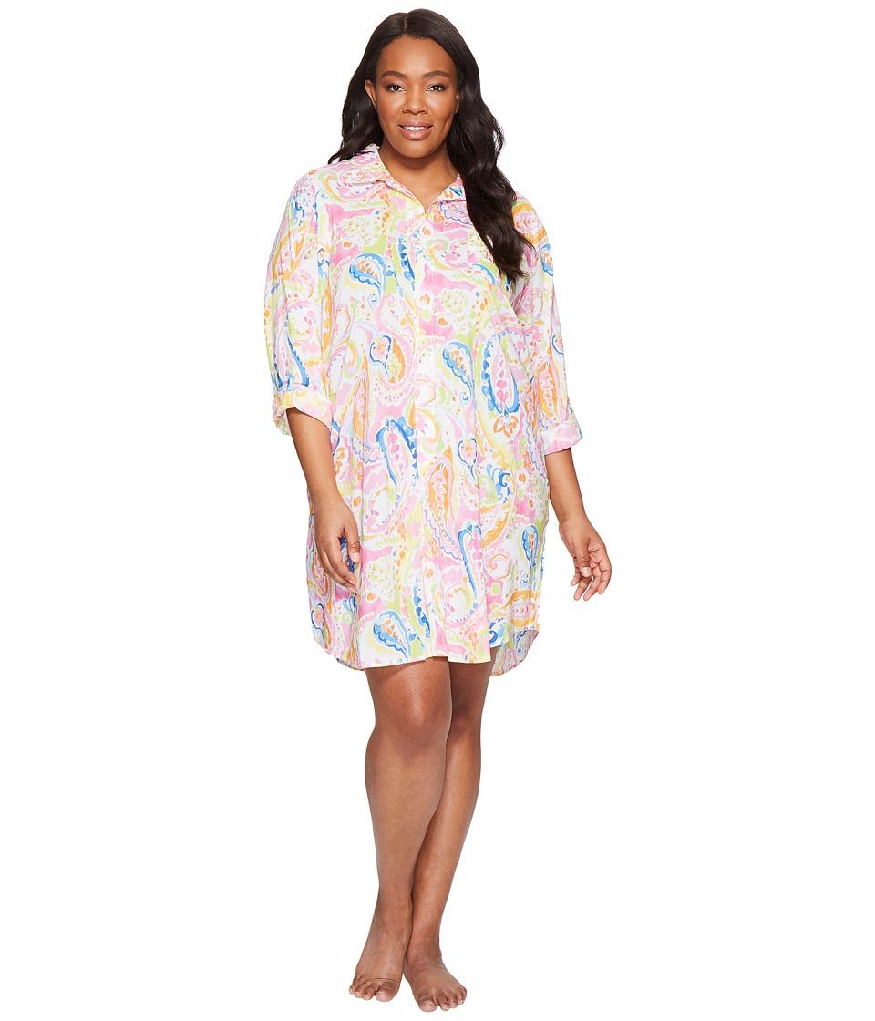 LAUREN Ralph Lauren - Plus Size Cotton Rayon Lawn His Shirt (Pink Paisley) Women's Pajama