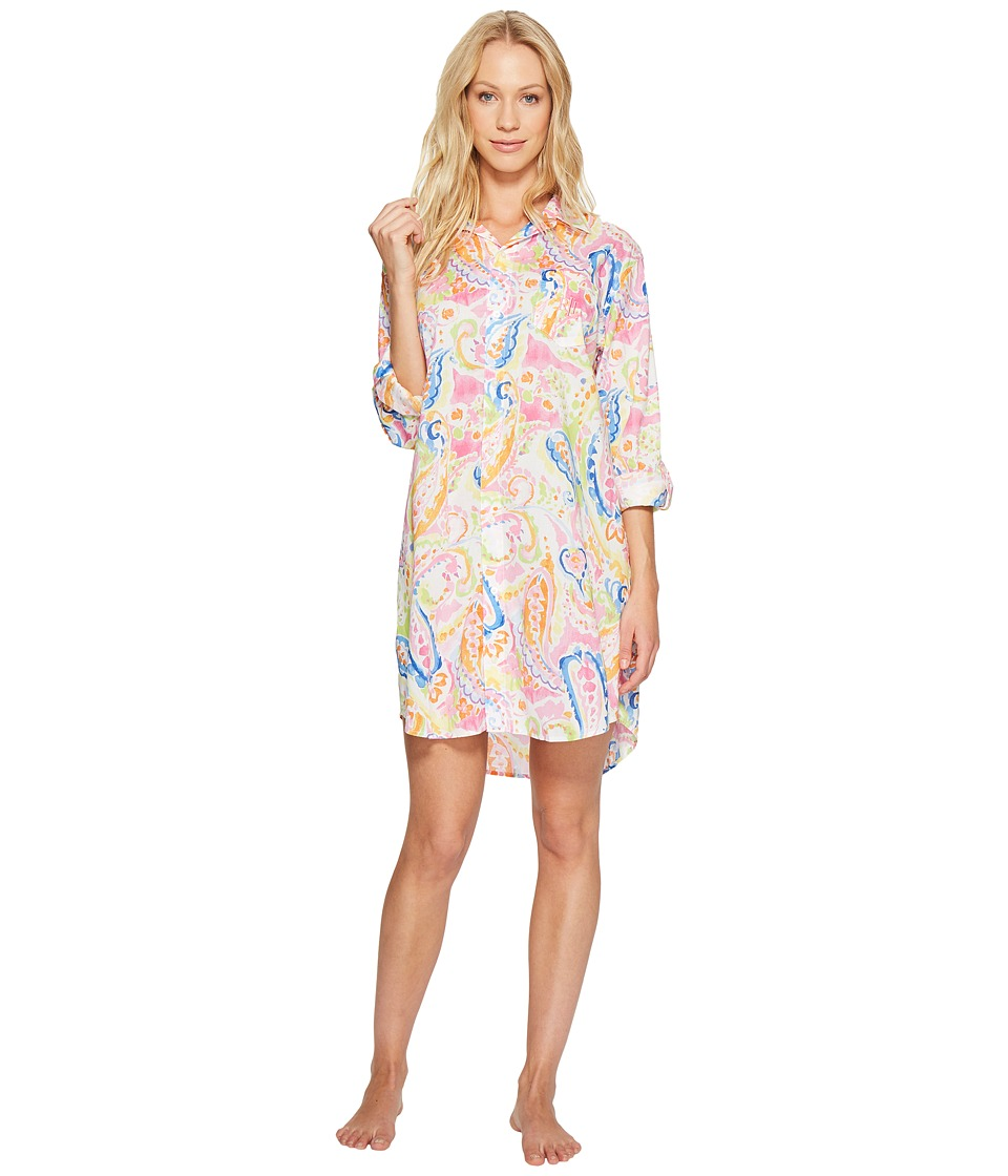 LAUREN Ralph Lauren - Cotton Rayon Lawn His Shirt (Pink Paisley) Women's Pajama