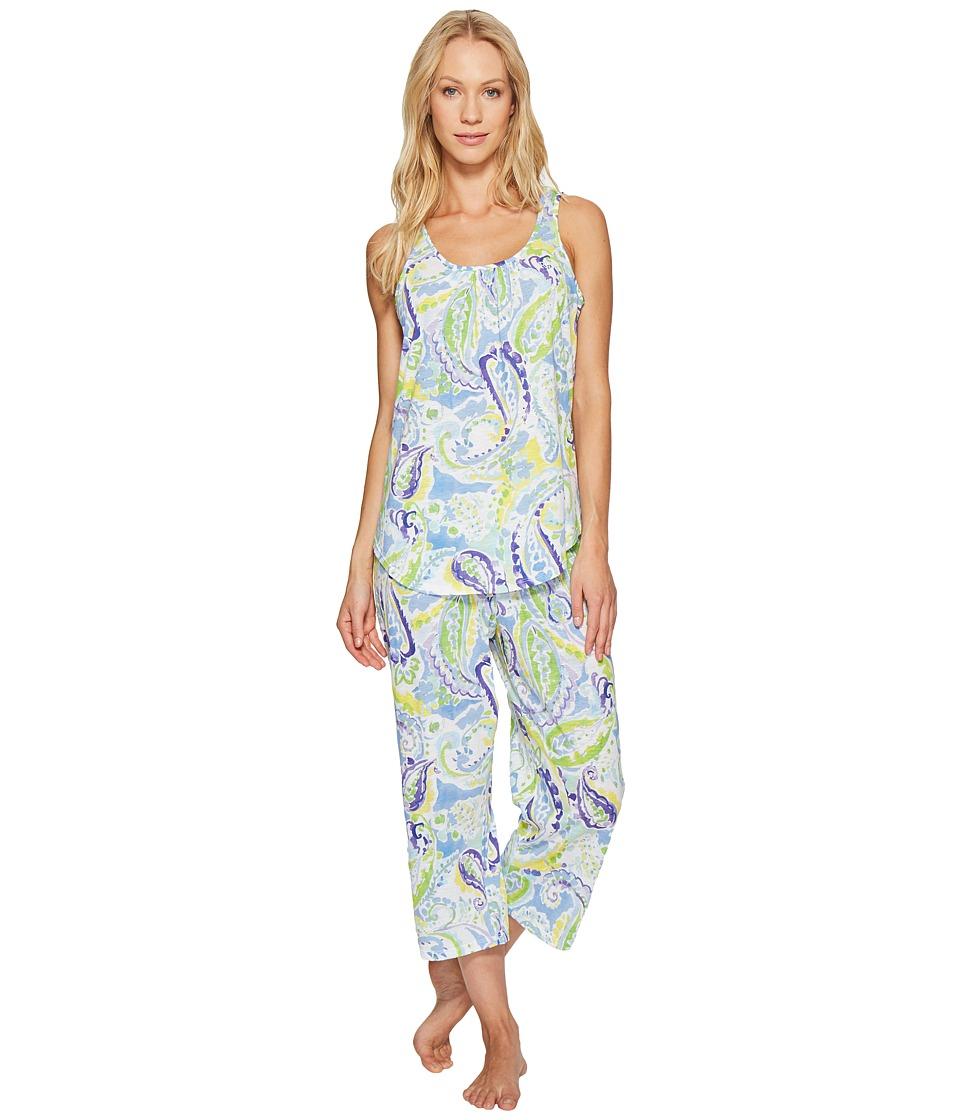 LAUREN Ralph Lauren - Paisley Cotton Slub Jersey PJ (Blue Paisley) Women's Pajama Sets