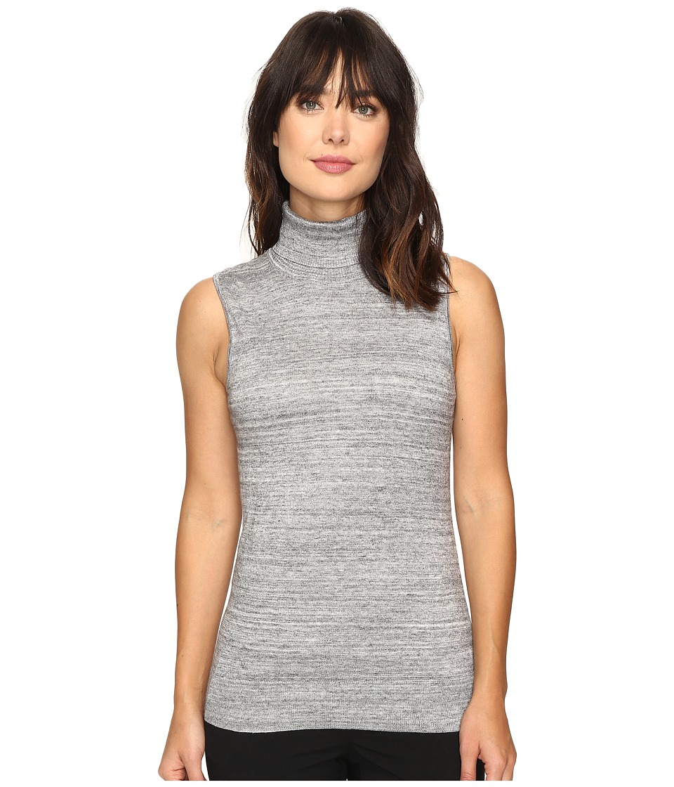 Calvin Klein - Sleeveless Turtleneck Sweater (Heather Granite) Women's Sweater