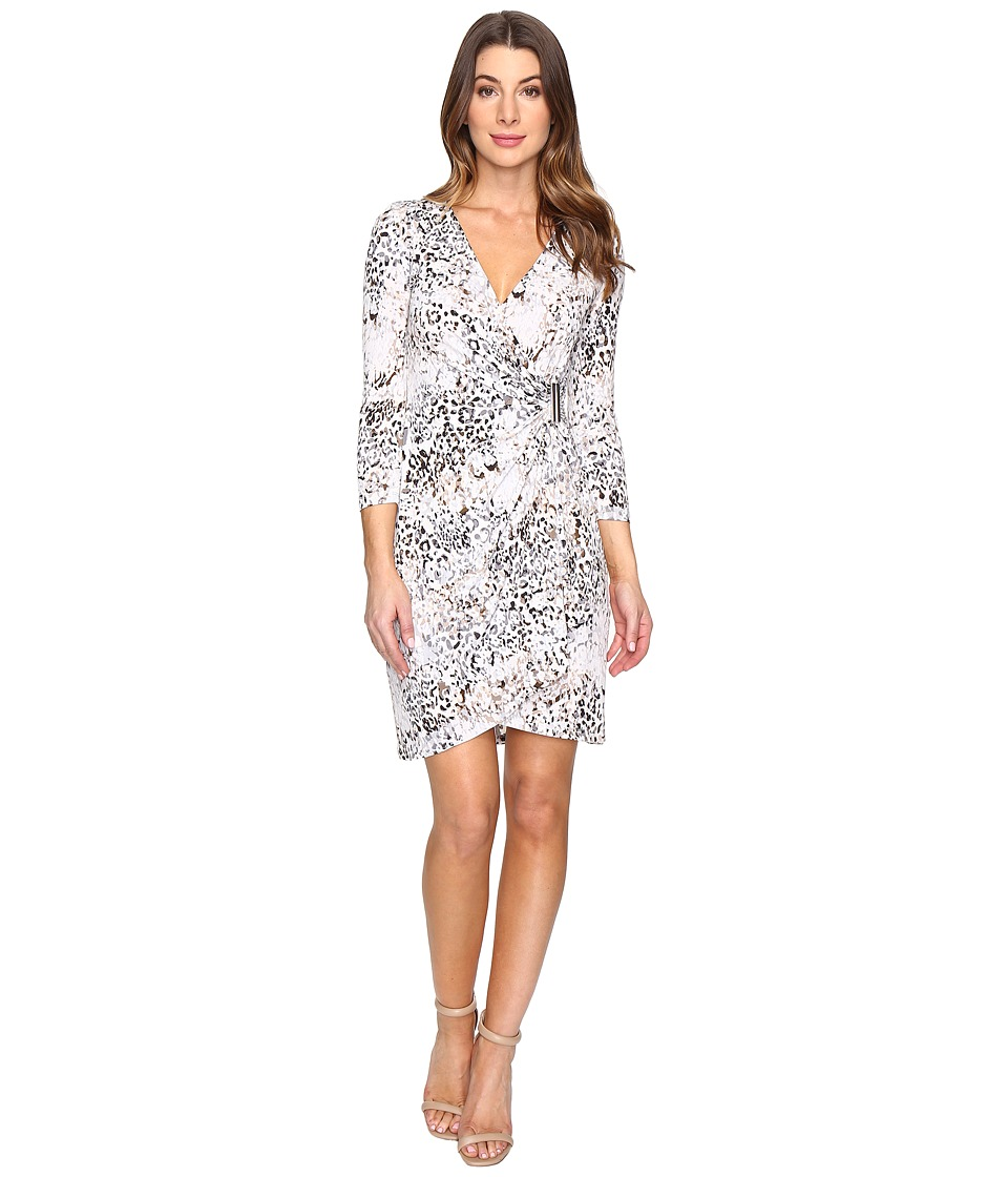 Calvin Klein - 3/4 Sleeve Printed Wrap Dress (Tin/Black) Women's Dress