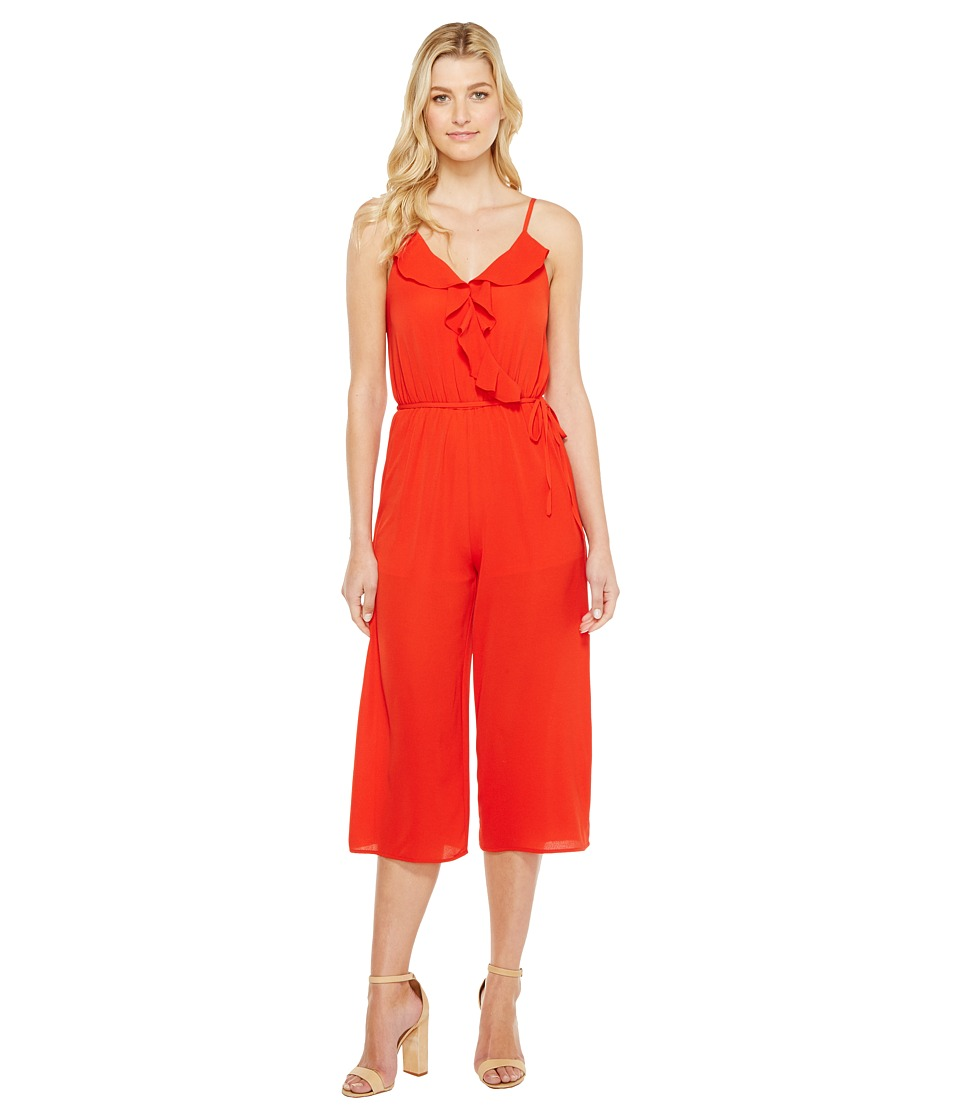 Brigitte Bailey - Kadin Ruffle Jumper (Red Orange) Women's Jumpsuit & Rompers One Piece