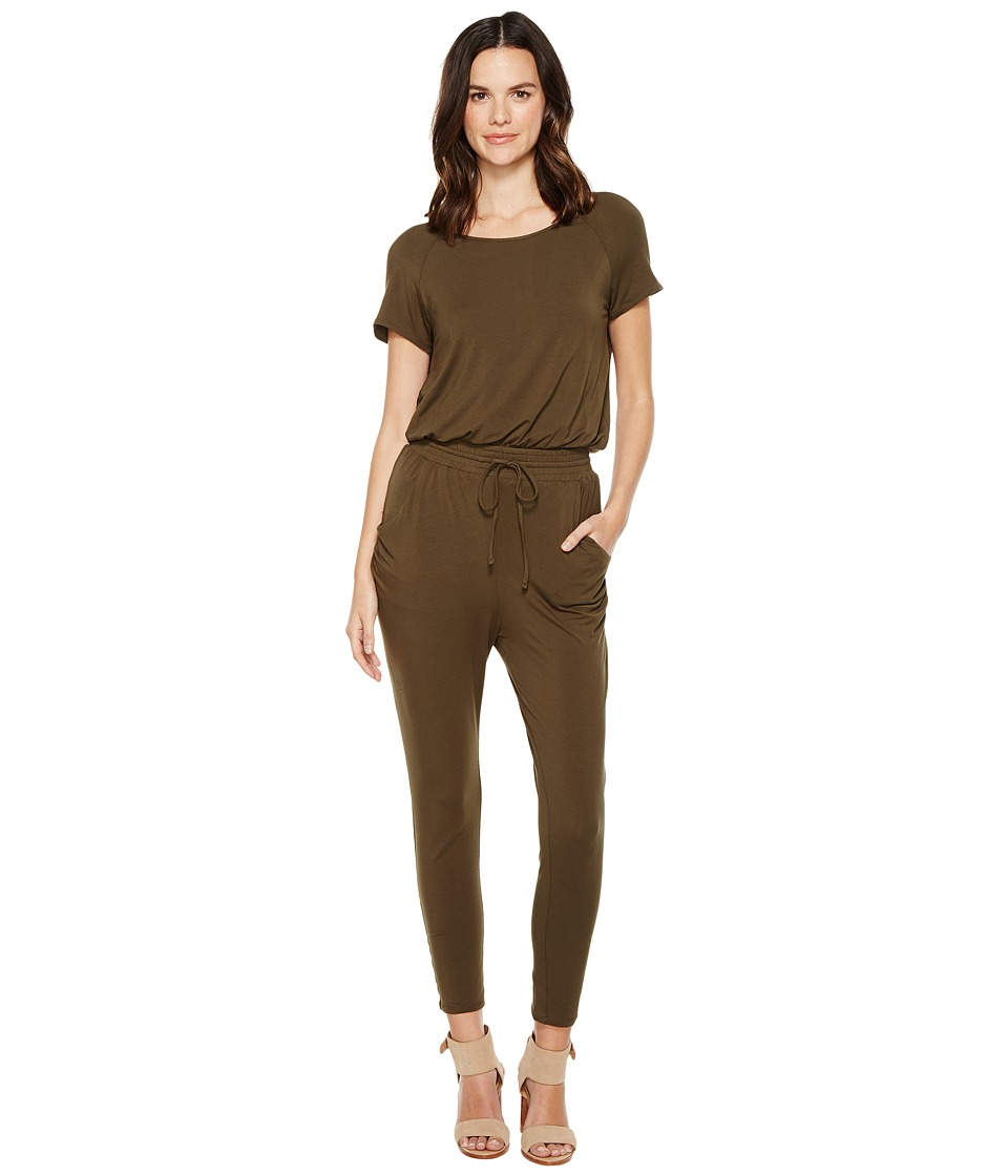 Brigitte Bailey - Suki Short Sleeve Jumper (Olive) Women's Jumpsuit & Rompers One Piece