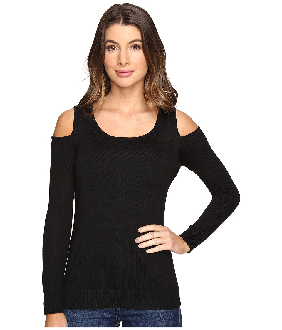 Calvin Klein - Cold Shoulder Crew Neck Sweater (Black) Women's Sweater