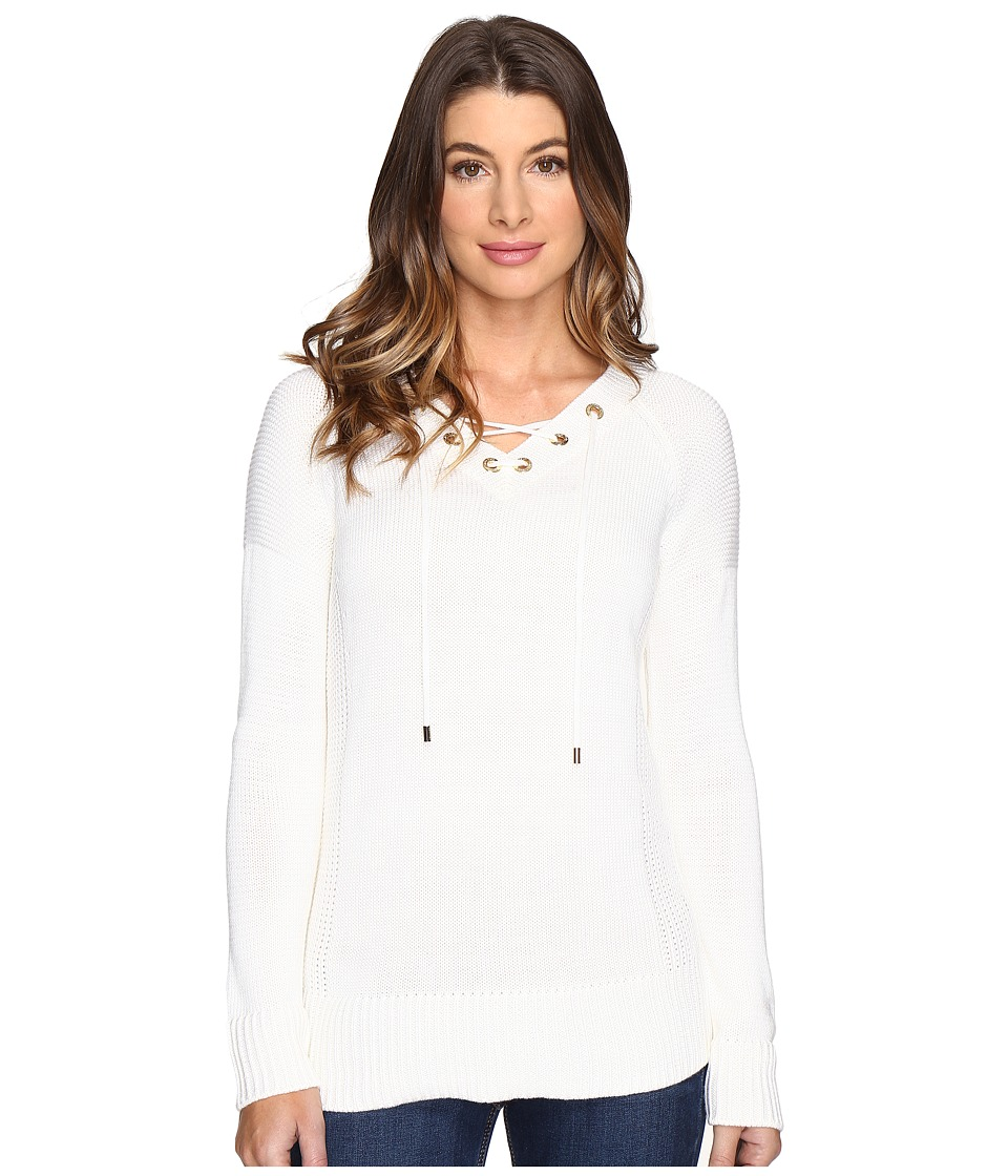 Calvin Klein - V-Neck Lace-Up Sweater (Soft White) Women's Sweater
