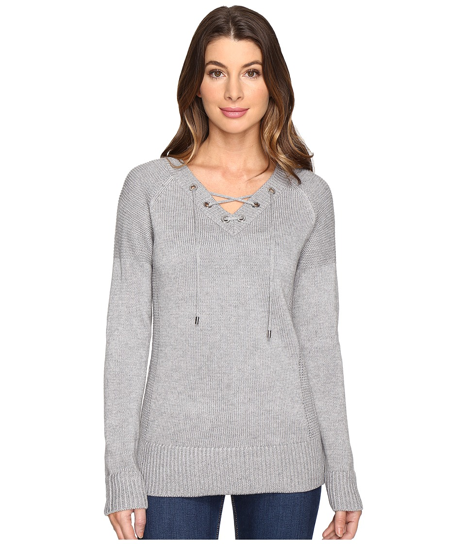 Calvin Klein - V-Neck Lace-Up Sweater (Heather Granite) Women's Sweater