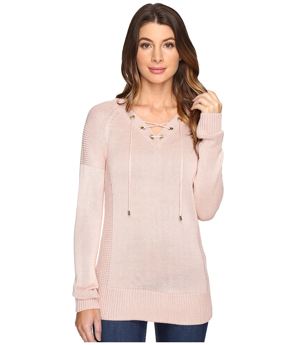 Calvin Klein - V-Neck Lace-Up Sweater (Blush) Women's Sweater