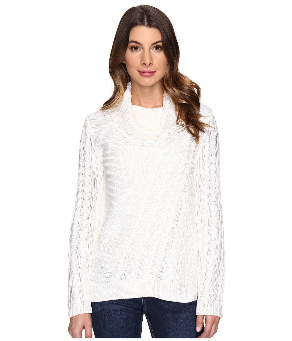 Calvin Klein - Mixed Stitch Cowl Neck (Soft White) Women's Sweater