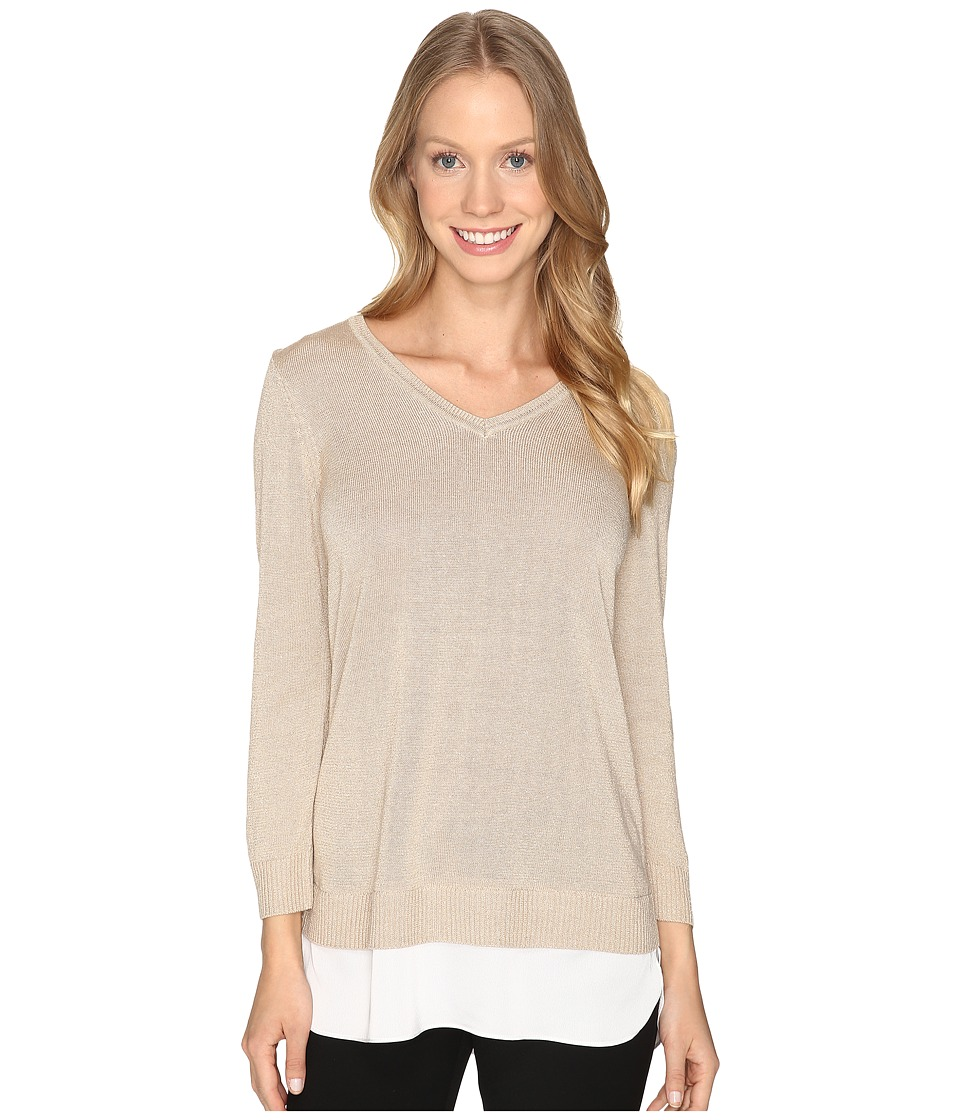 Calvin Klein - V-Neck Lurex Sweater (Heather Latte) Women's Sweater