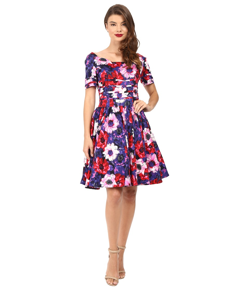 Unique Vintage - Cap Sleeve Scallop Roman Holiday Dress (Purple Floral) Women's Dress