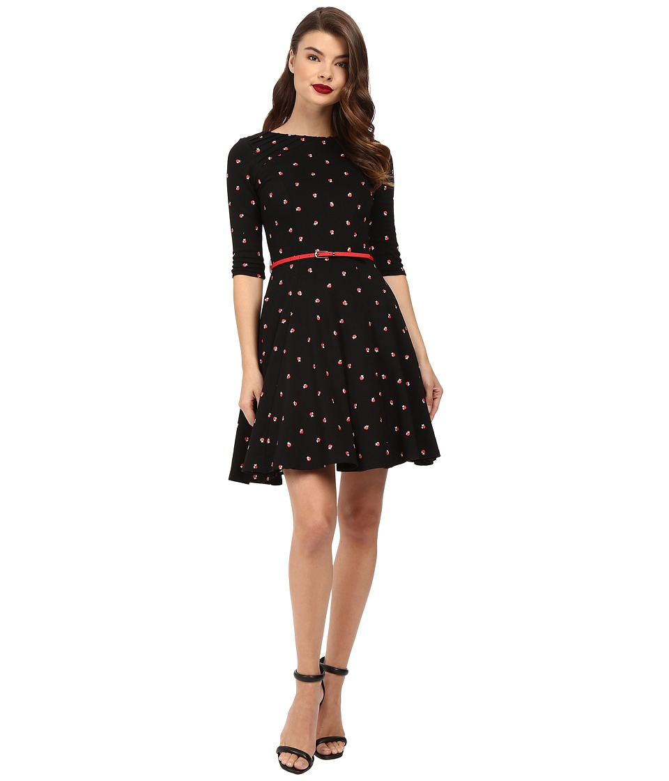 Unique Vintage - 3/4 Sleeve Fit Flare Knit Dress (Black/Apple Print) Women's Dress