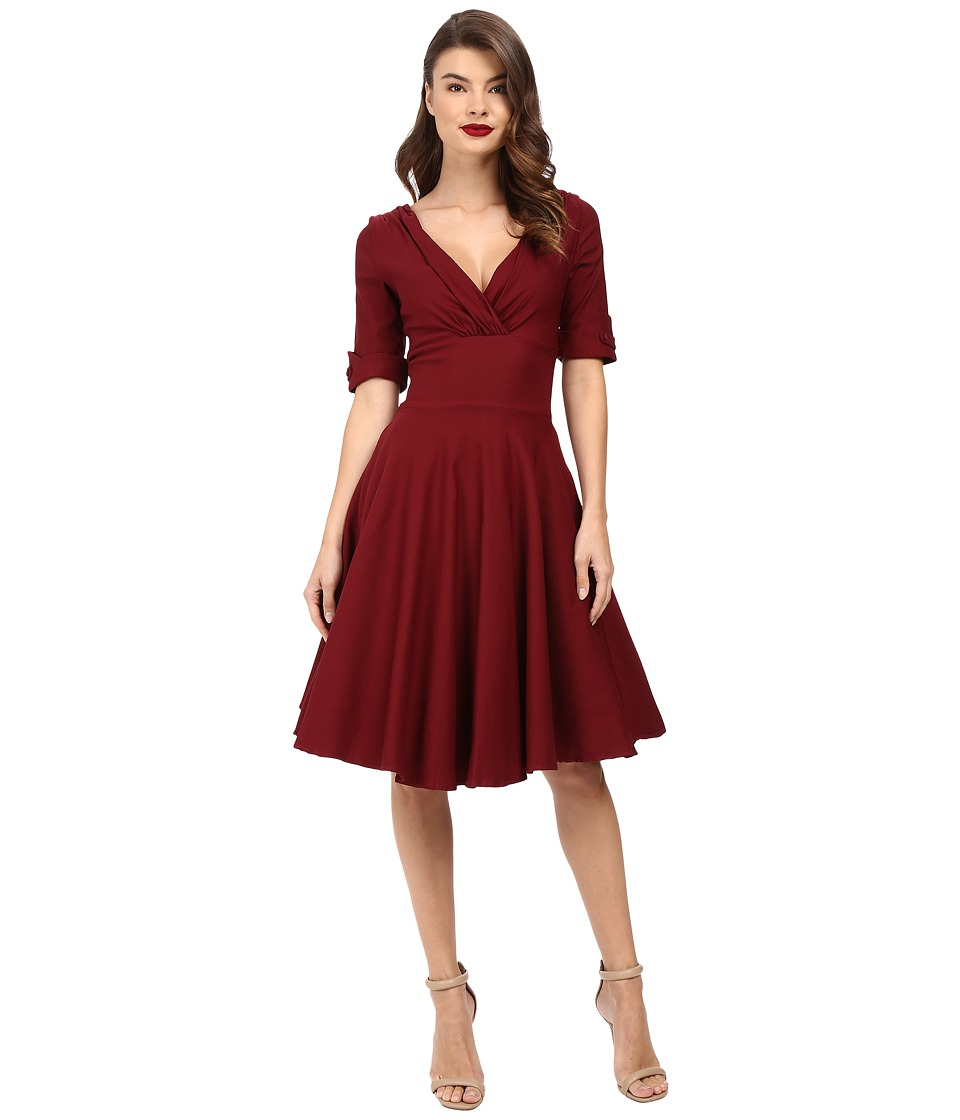 Unique Vintage 3/4 Sleeve Delores Swing Dress (Burgundy) Women