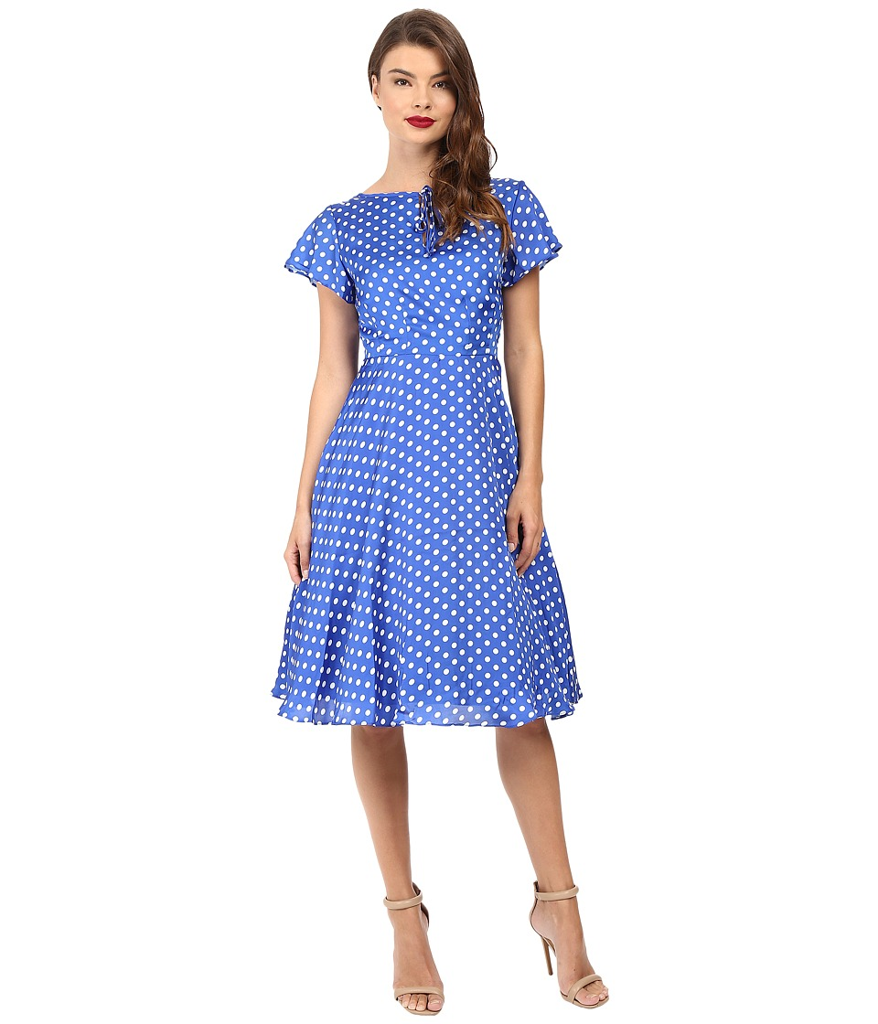 Unique Vintage - 1940s Style Formosa Swing Dress (Royal Blue Dot) Women's Dress