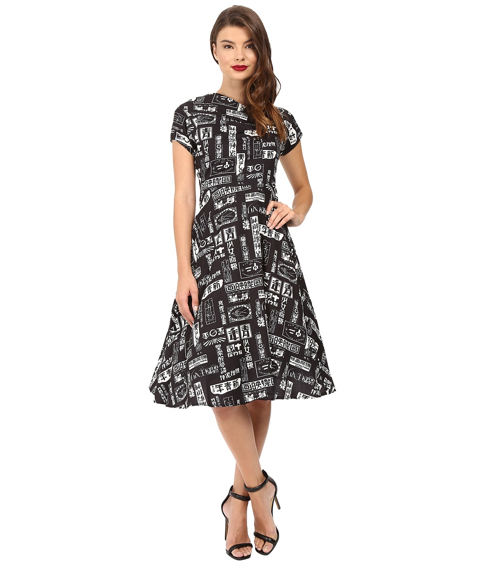 Unique Vintage - Cap Sleeve Cut Out Swing Dress (Black/White Print) Women's Dress