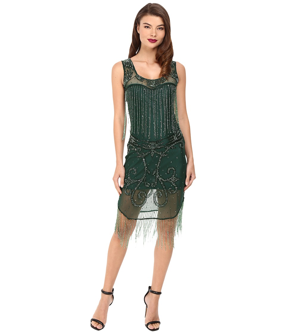 Unique Vintage - Hand Beaded Draping Fringe Flapper Dress (Green) Women's Dress