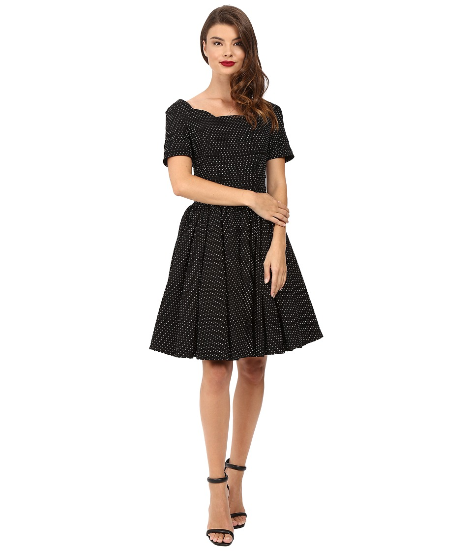 Unique Vintage - Cap Sleeve Scallop Roman Holiday Dress (Black Pin Dot) Women's Dress