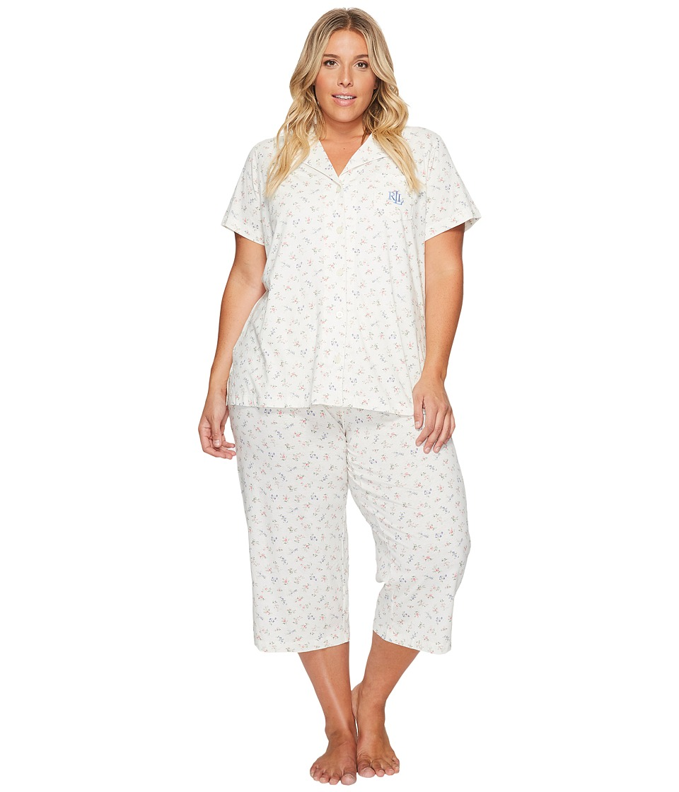 LAUREN Ralph Lauren - Plus Size Short Sleeve Knit Notch Collar Capri PJ (Cream Ground Ditzy Floral) Women's Pajama Sets