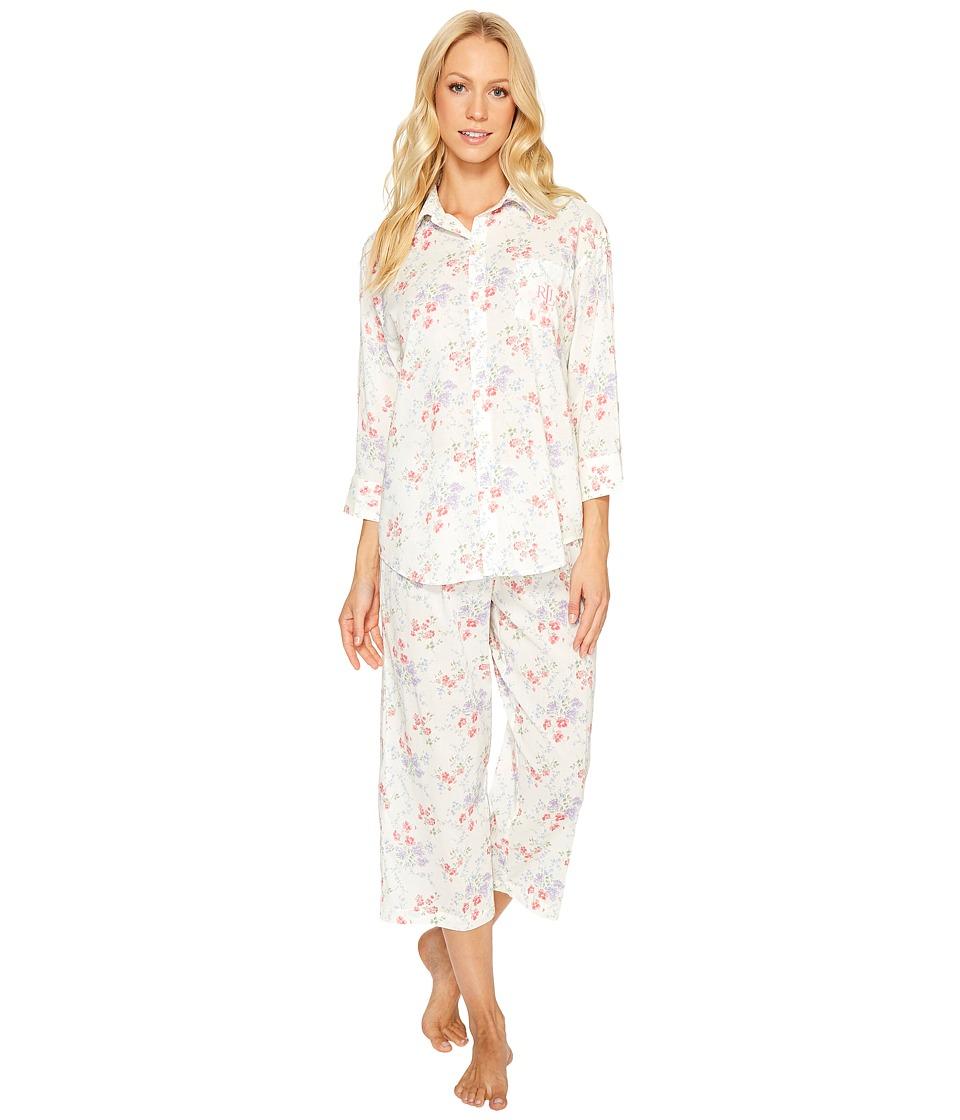 LAUREN Ralph Lauren - Cotton Rayon Lawn Capri PJ Set (Pink/Lavendar Floral) Women's Pajama Sets