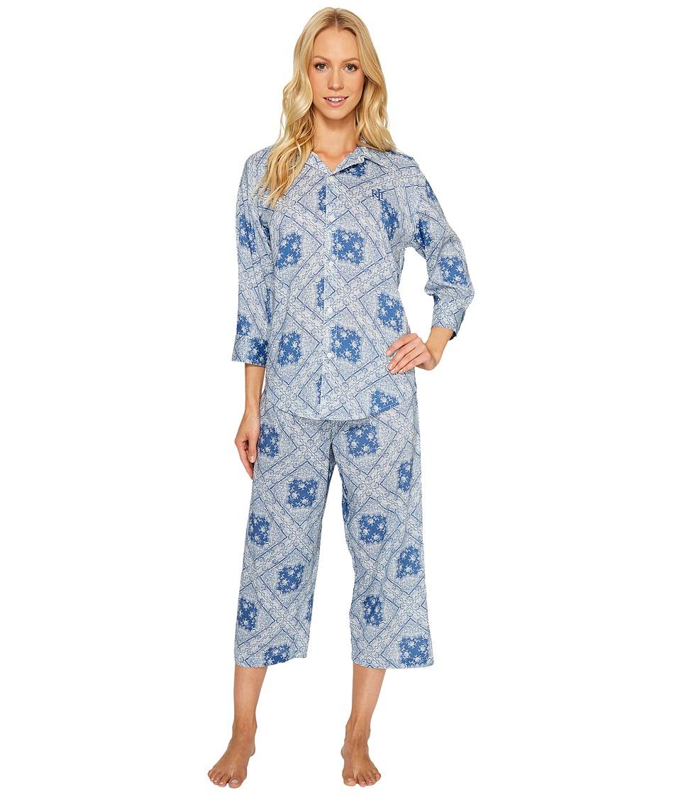 LAUREN Ralph Lauren - Cotton Rayon Lawn Capri PJ Set (Dewie Blue Bandana) Women's Pajama Sets