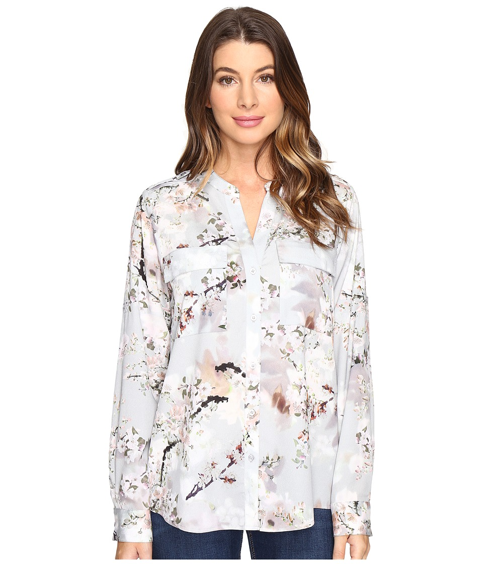 Calvin Klein - Printed Roll Sleeve Blouse (Tin Multi) Women's Blouse
