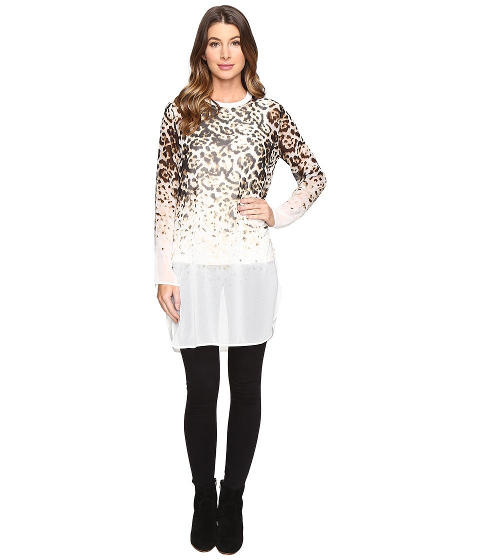 Calvin Klein - Long Printed Tunic (Latte Leopard) Women's Blouse