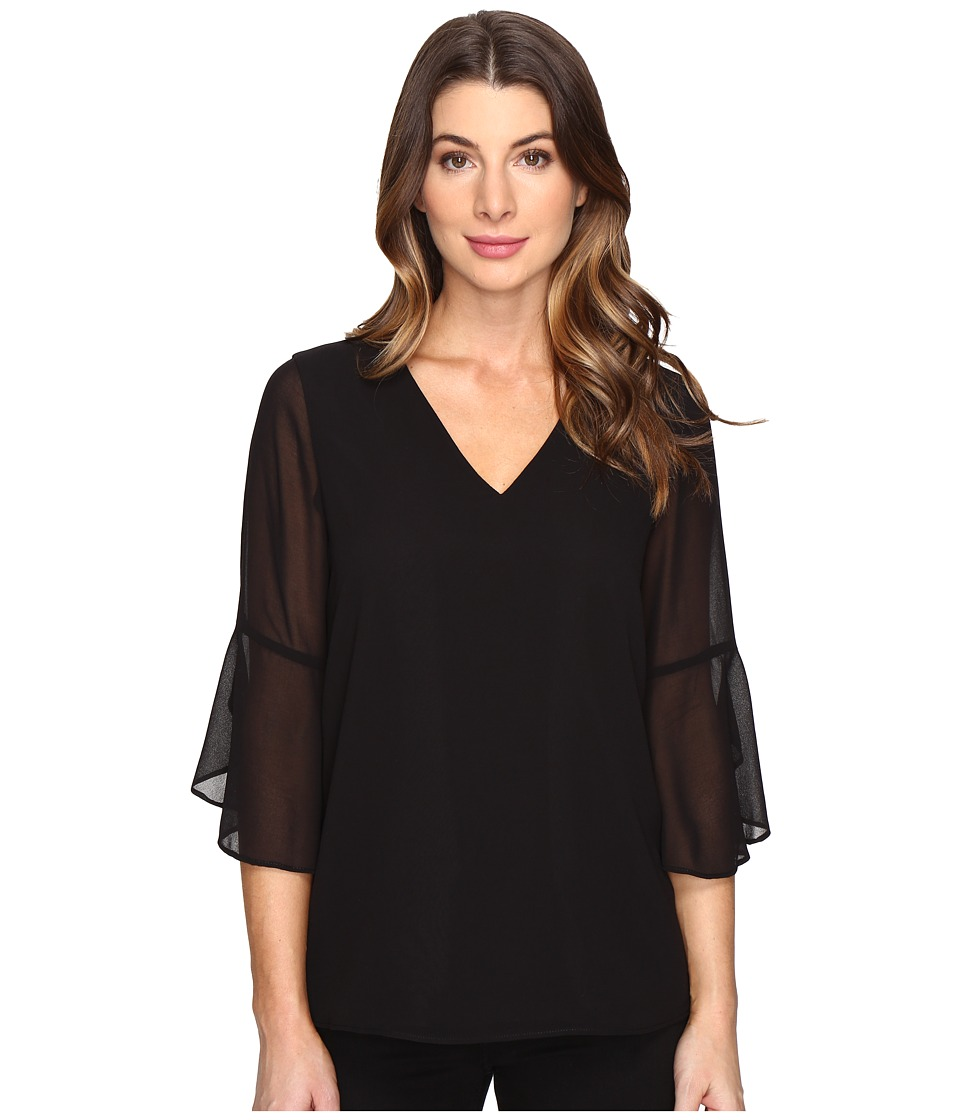 Calvin Klein - Ruffle Sleeve V-Neck Blouse (Black) Women's Blouse