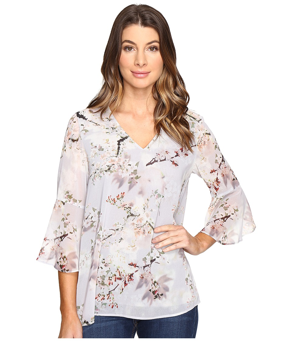 Calvin Klein - Printed Ruffle Sleeve Blouse (Tin Multi) Women's Blouse