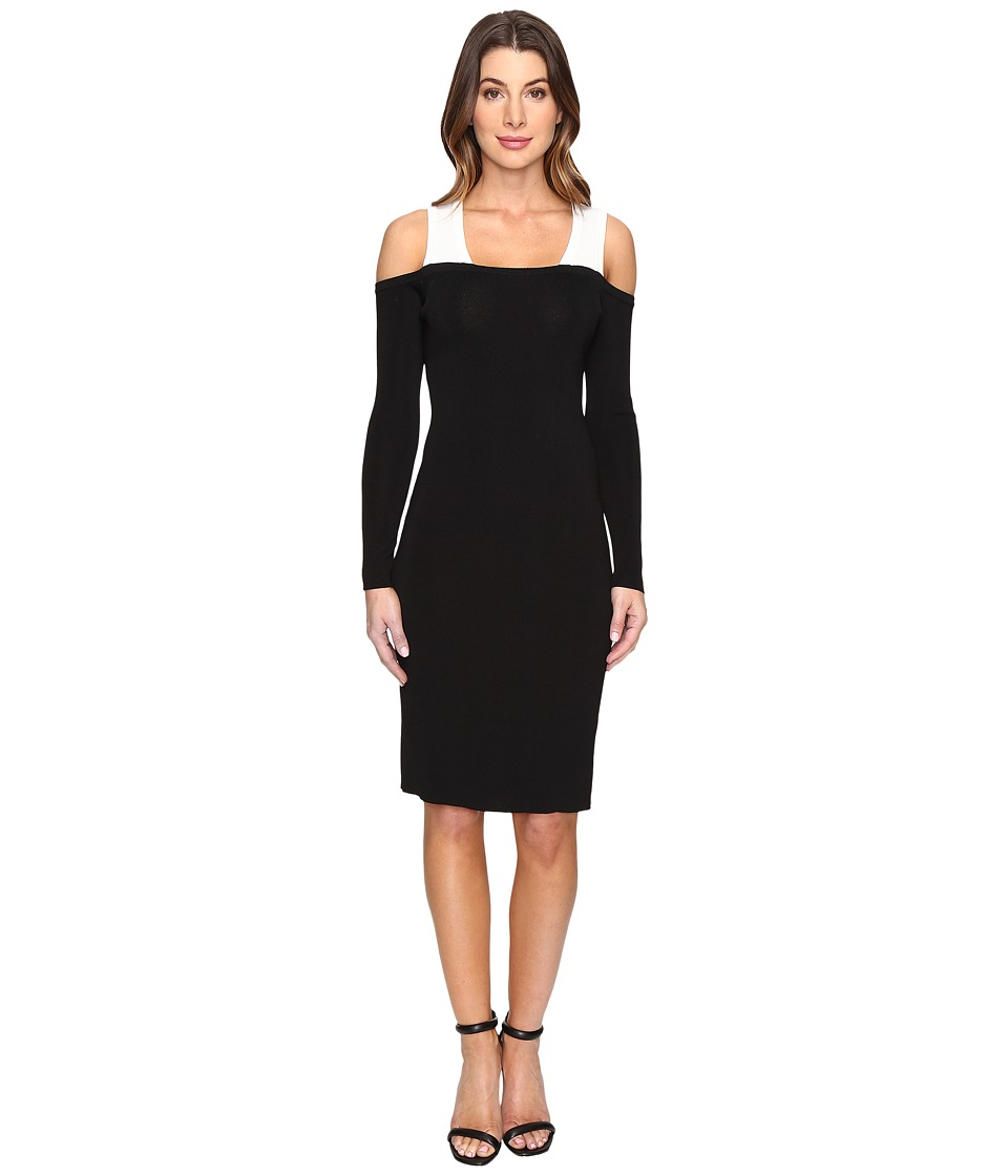 Calvin Klein Color Block Cold Shoulder Sweater Dress (Black) Women