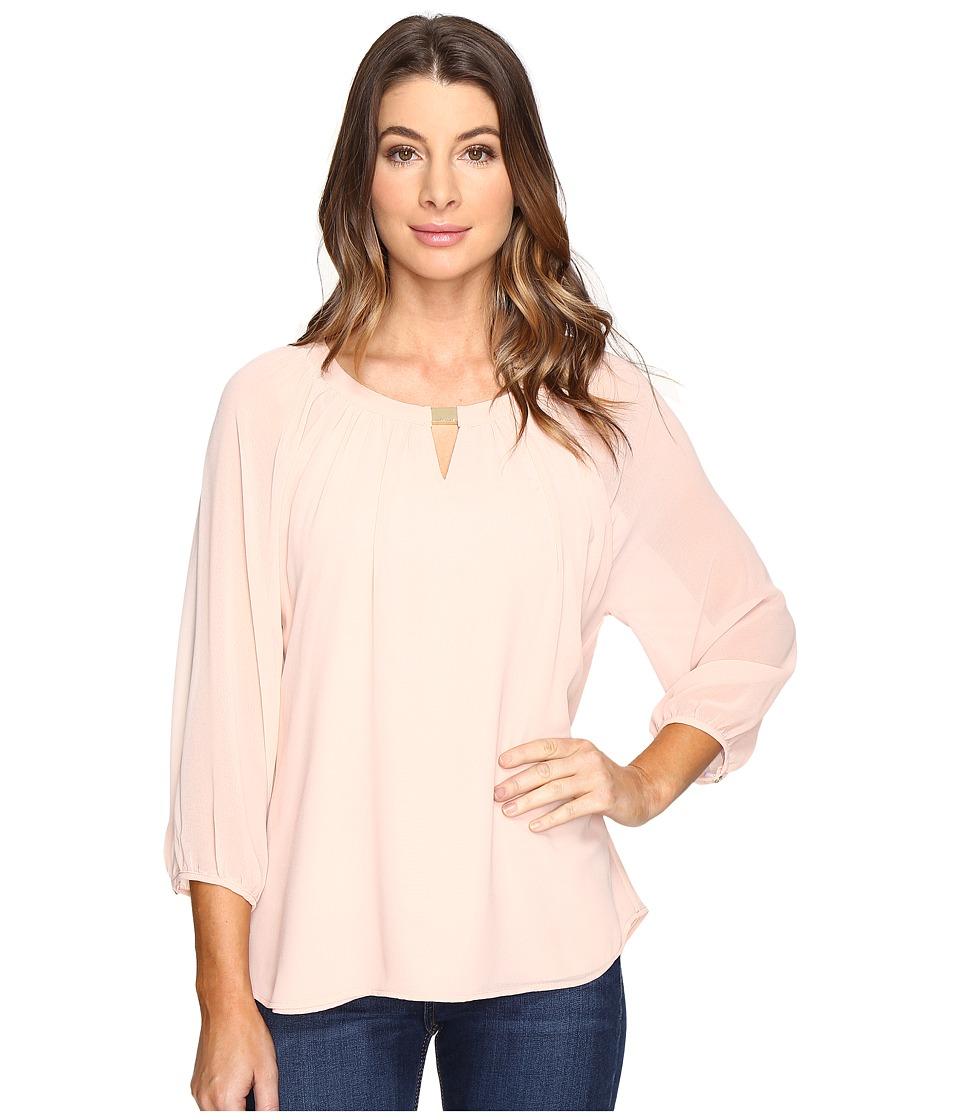 Calvin Klein - 3/4 Sleeve Blouse w/ Hardware (Blush) Women's Blouse