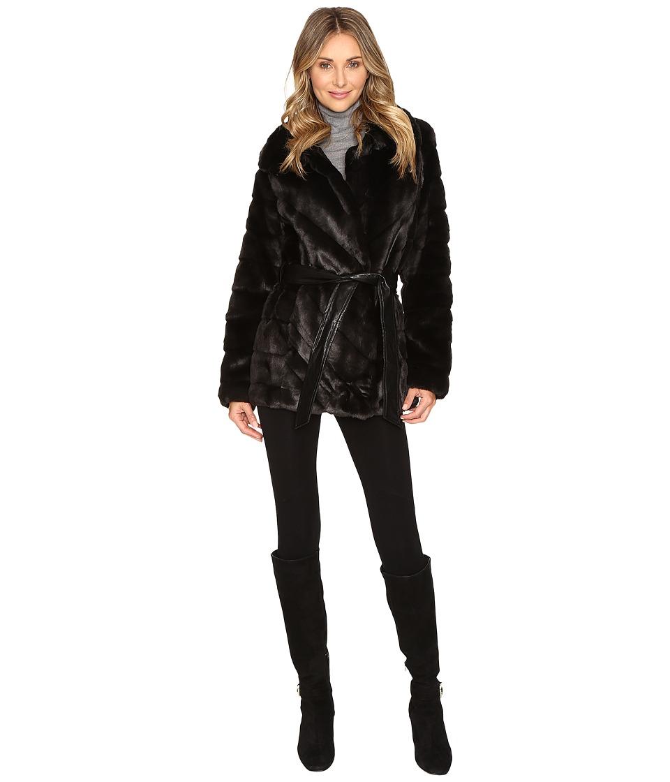 Ellen Tracy - Faux Fur Coat (Black) Women's Coat
