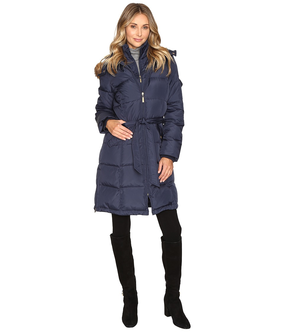 Ellen Tracy - Walker Length Belted Trench Down w/ Faux Fur Hood (Navy) Women's Coat