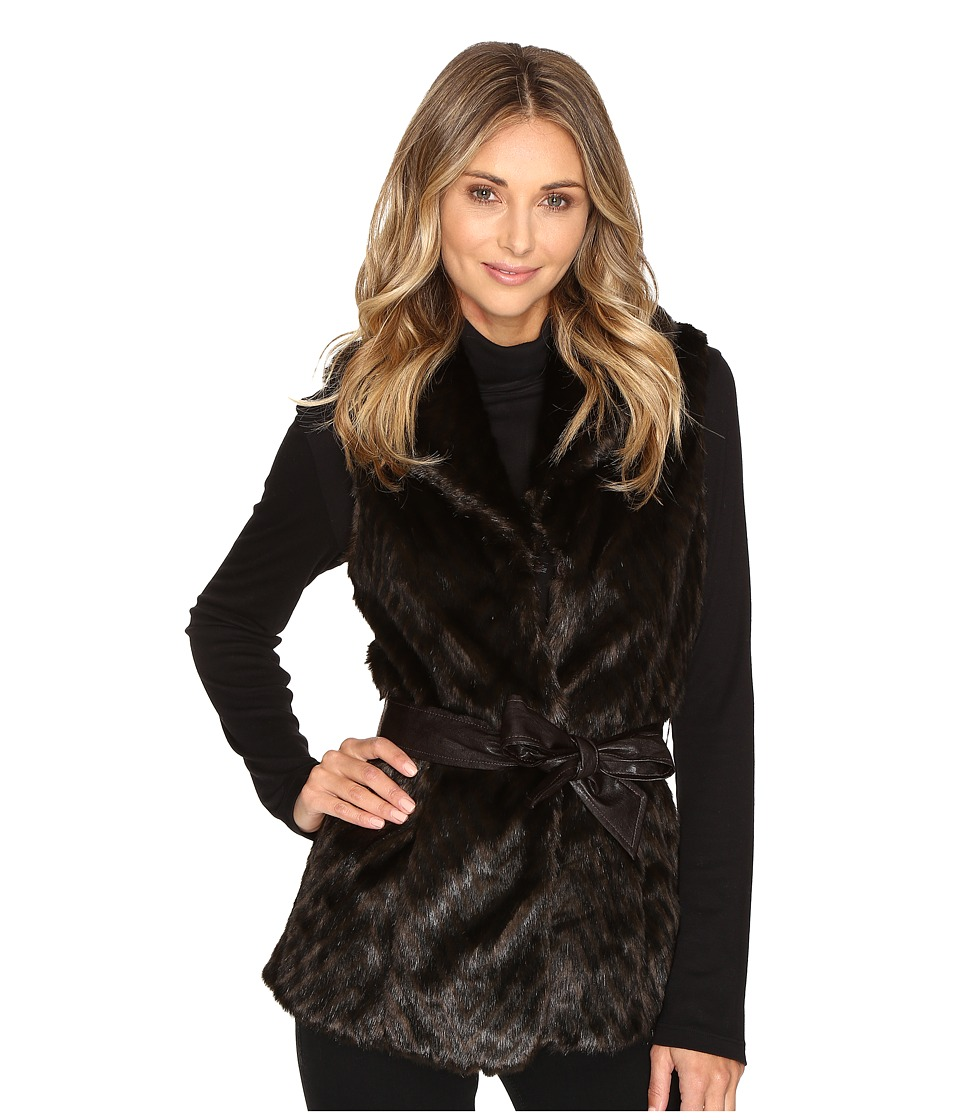Ellen Tracy - Faux Mink Coat (Espresso) Women's Coat