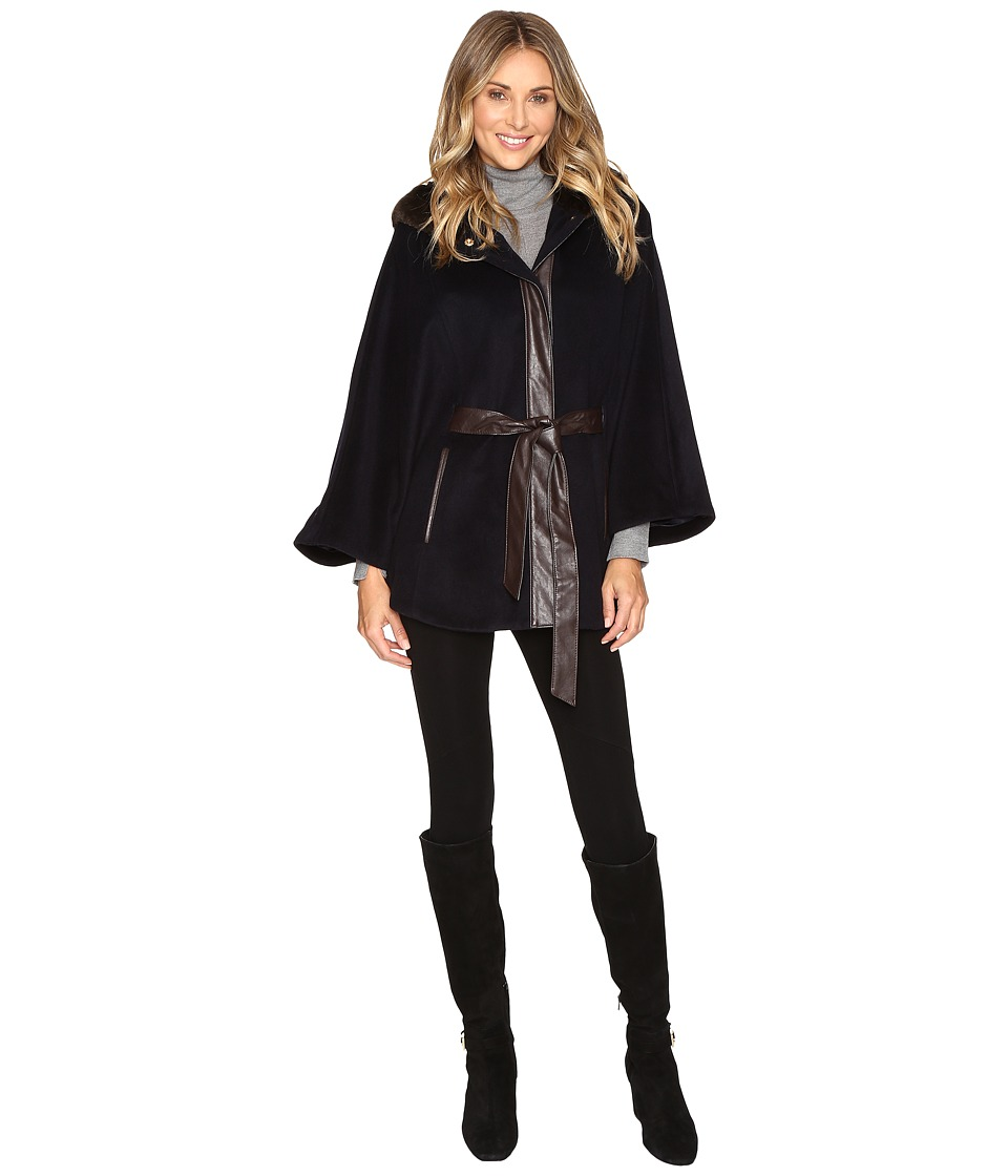 Ellen Tracy - Faux Fur Trim Hooded Cape w/ Faux Leather Belt (Navy) Women's Coat