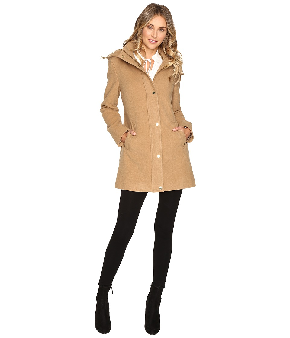 Ellen Tracy - Plush Wool Military Coat (Camel) Women's Coat