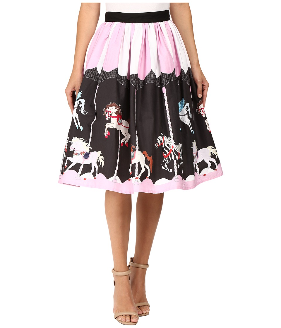 Unique Vintage - Scene Full Swing Skirt (Pink/Black Carousel) Women's Skirt