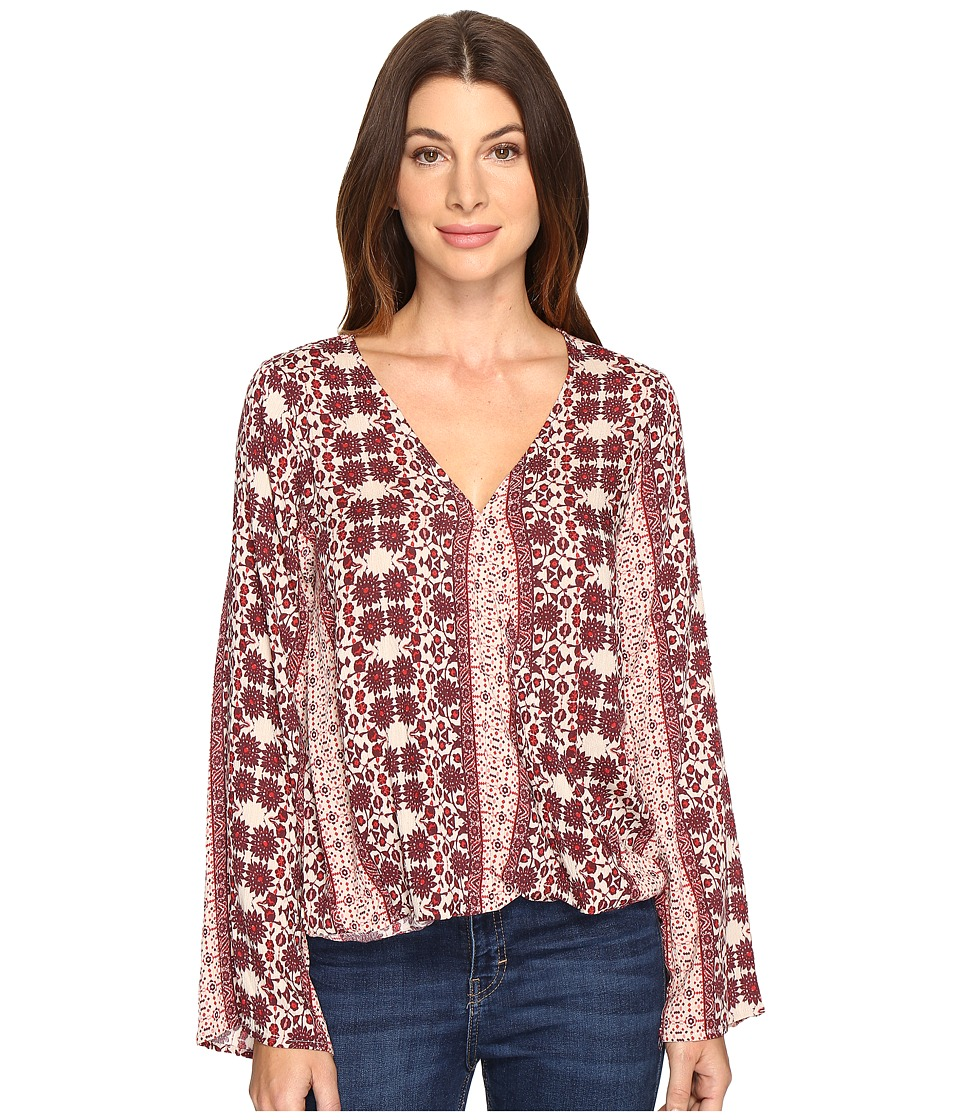 Brigitte Bailey - Tamsyn Printed Overlap Long Sleeve Top (Burgundy) Women's Clothing