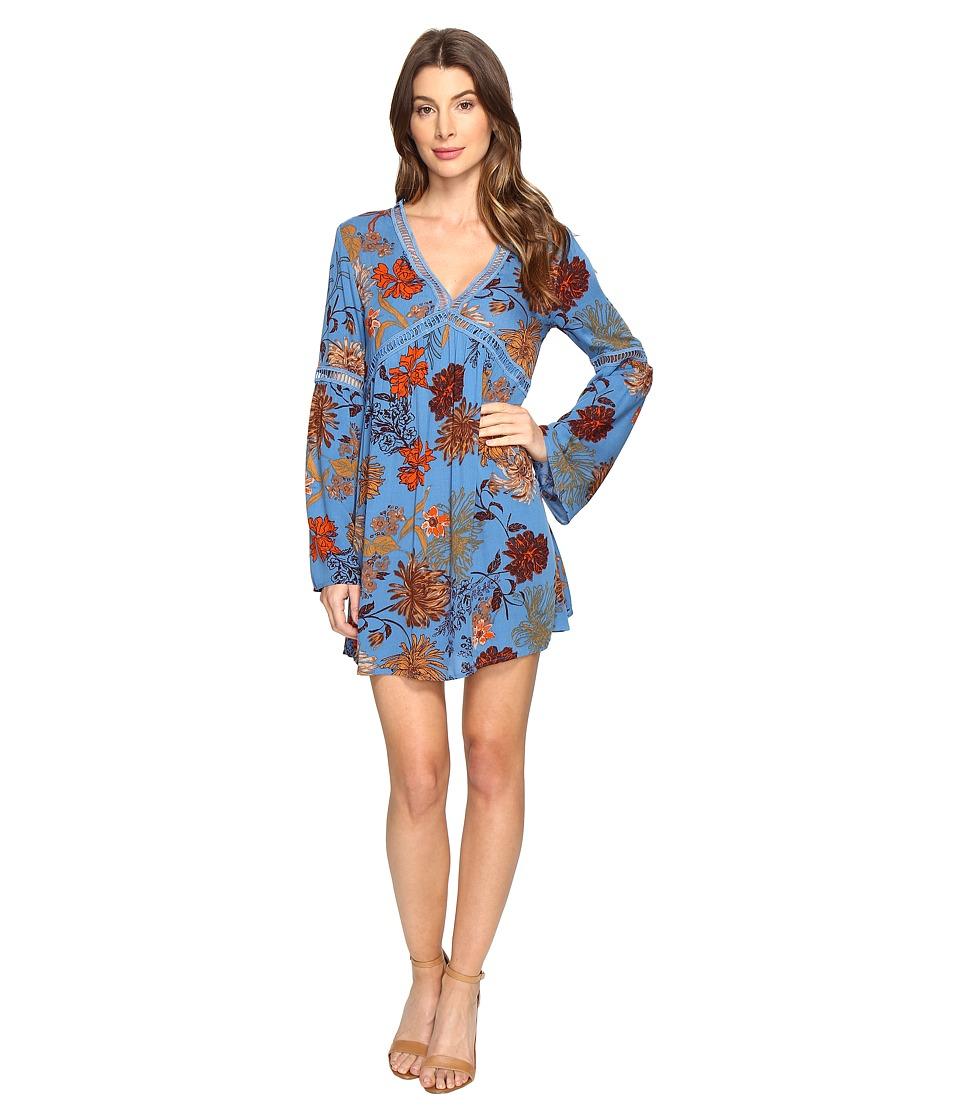 Brigitte Bailey - Bethy Long Sleeve Printed Dress (Blue) Women's Dress