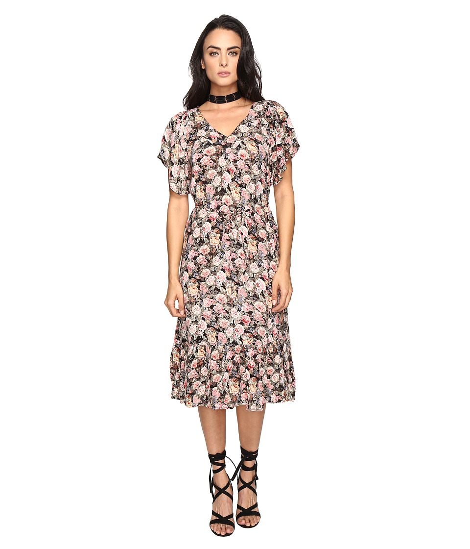 Brigitte Bailey - Jett V-Neck Dress with Ruffle Bottom (Pink) Women's Dress