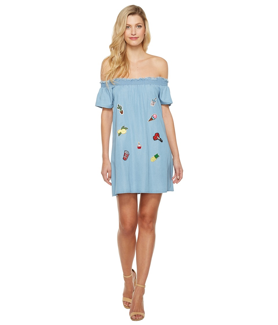 Brigitte Bailey - Alizah Off the Shoulder Dress with Patches (Denim) Women's Dress