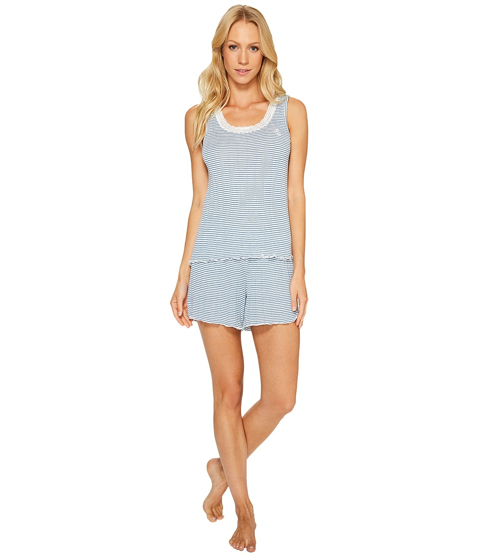 LAUREN Ralph Lauren - Striped Pointelle Tank Top Short Set (Kris Stripe) Women's Pajama Sets