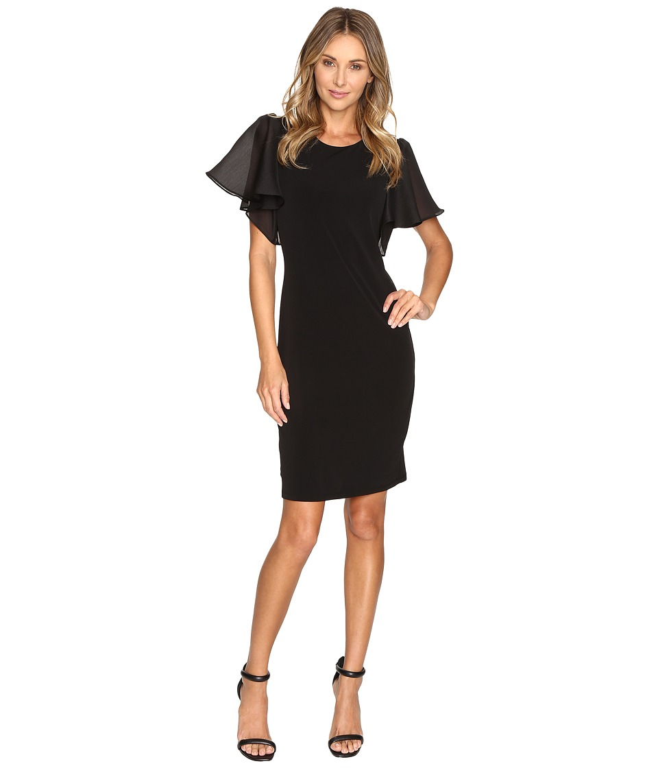 Calvin Klein - Short Sleeve Flutter Dress (Black) Women's Dress