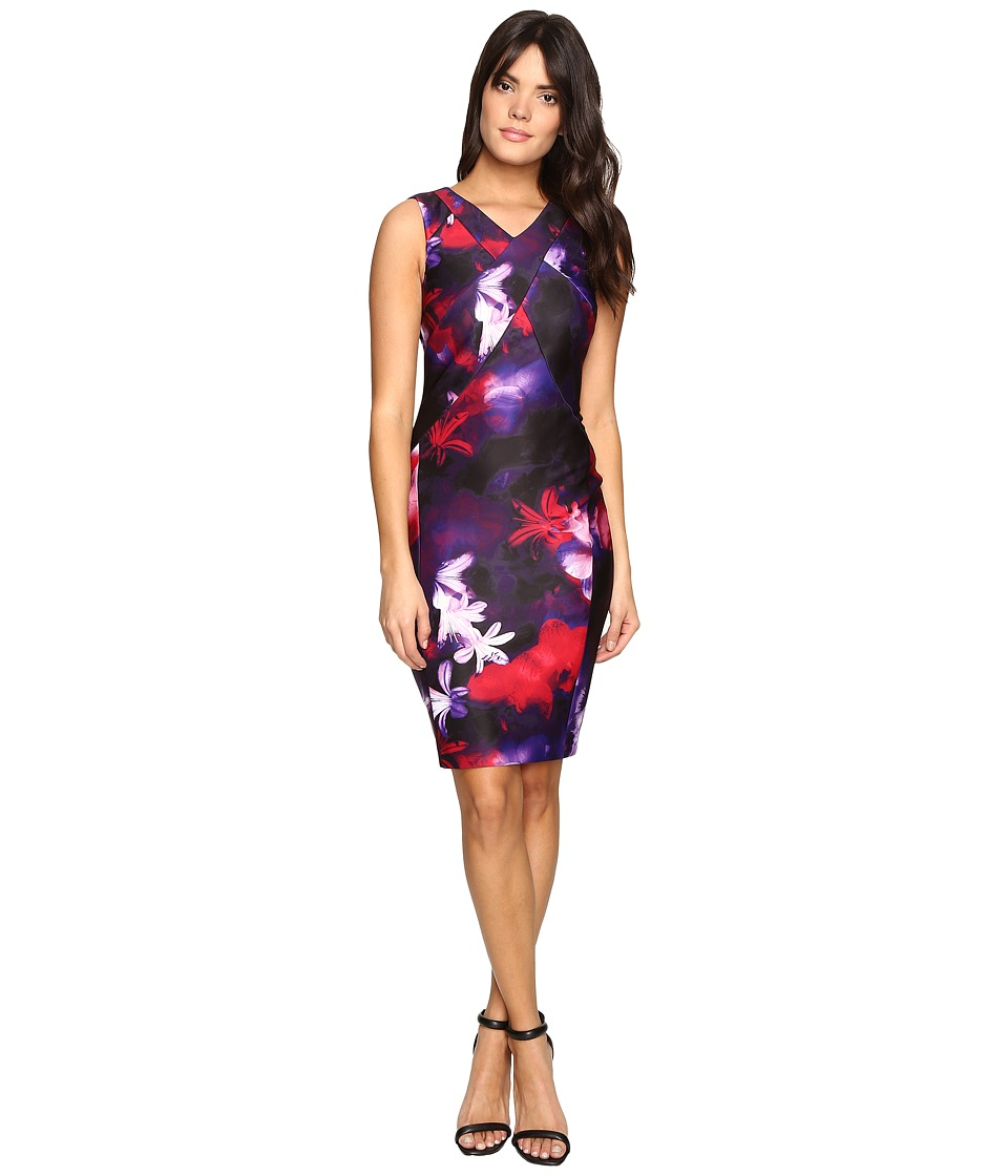 Calvin Klein - Printed Sheath w/ V-Neck Dress (Black/Rouge) Women's Dress